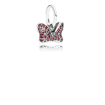 Disney, Minnie's Sparkling Bow Dangle Charm, Red & Clear CZ