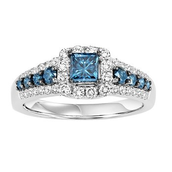 14K Blue & White Diamond Engagement Ring 1 1/4 ctw Complete