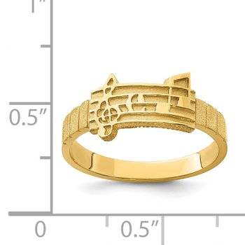 14K Polished & Brushed Music Notes Ring