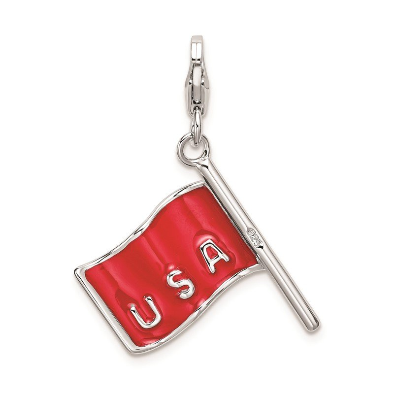 Quality Gold Sterling Silver Amore La Vita Rhod-pl 3-D Enameled American Flag Charm
