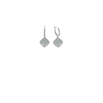 18KT WHITE GOLD DIAMOND CLUSTER DROP EARRINGS