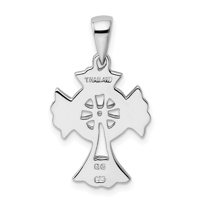 J.F. Kruse Signature Collection Sterling Silver Rhodium-plated Polished Celtic Cross Pendant