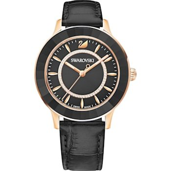 Octea Lux Watch, Leather strap, Black, Rose-gold tone PVD