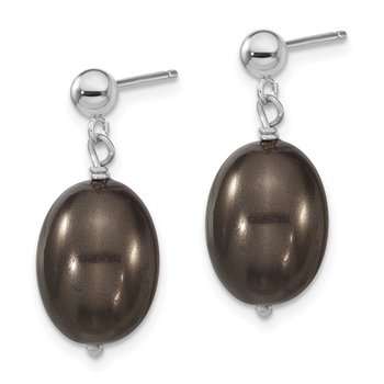 Sterling S Majestik Rh-pl10-11mm Blk Rice Imitat Shell Pearl Post Dangle Ea