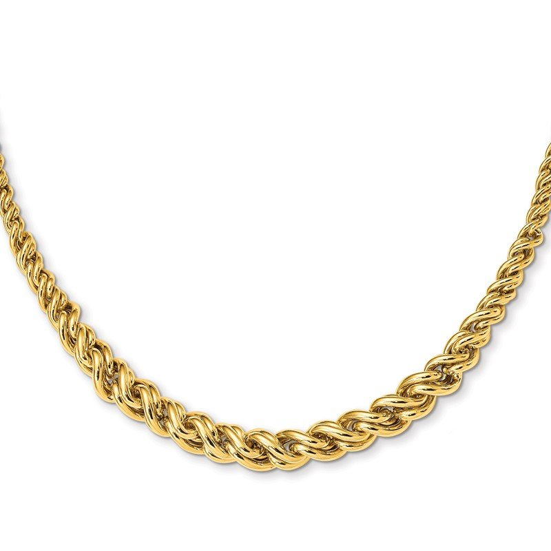 Quality Gold 14K Yellow Gold Polished Graduated Fancy Double Curb Necklace