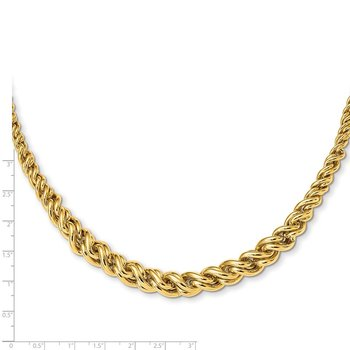 14K Yellow Gold Polished Graduated Fancy Double Curb Necklace
