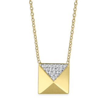 Diamond Pyramid Necklace in 14K Yellow Gold with 18 Diamonds Weighing .10ct tw.