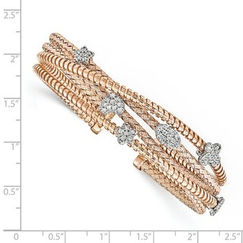 Leslie's Sterling Silver Rose-tone CZ Polished Textured Cuff Bangle