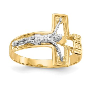 14K Two-tone Crucifix Men's Ring
