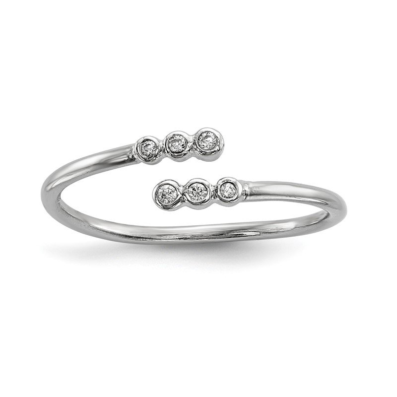Quality Gold Sterling Silver Rhodium-plated CZ Adjustable Ring