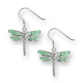 Green Dragonfly Wire Earrings.Sterling Silver