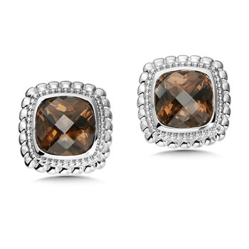 Sterling Silver Smoky Quartz Stud Earrings
