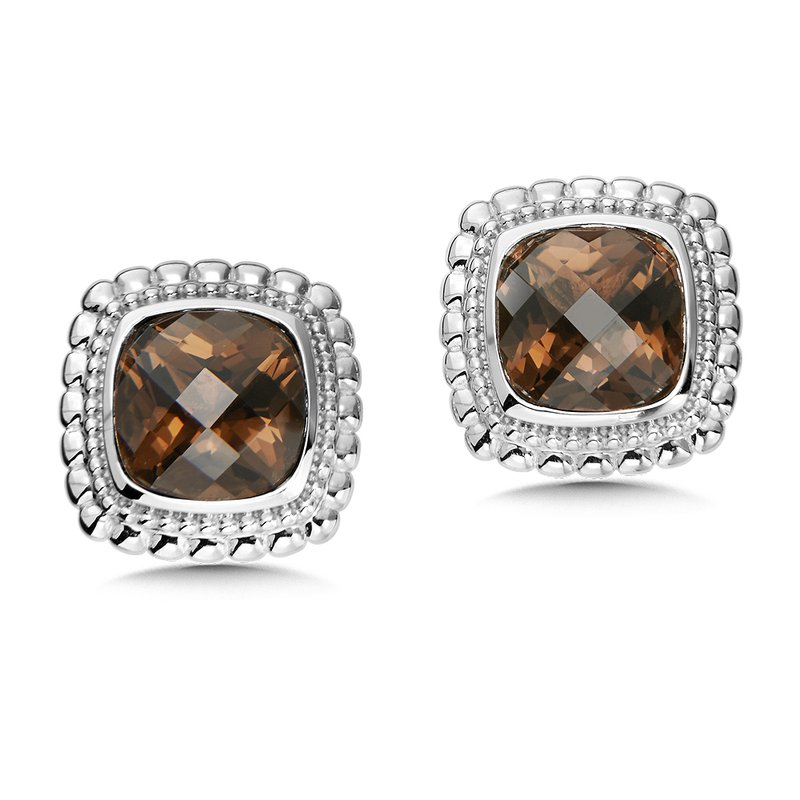 Colore SG Sterling Silver Smoky Quartz Stud Earrings