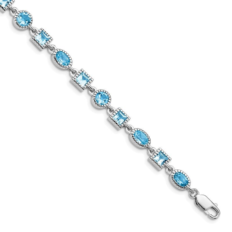 Quality Gold Sterling Silver Rhodium-plated Blue Topaz Bracelet