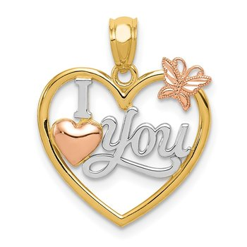 14k Two-tone w/White Rhod I LOVE YOU Heart w/Butterfly Pendant