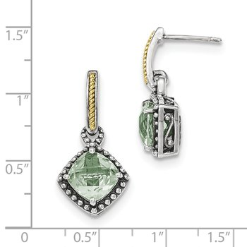 Sterling Silver w/14ky Green Quartz Post Dangle Earrings