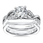 Caro74 Classic Elegance Collection Criss Cross Diamond Engagement Ring in 14K White Gold with Platinum Head (1ct. tw.)