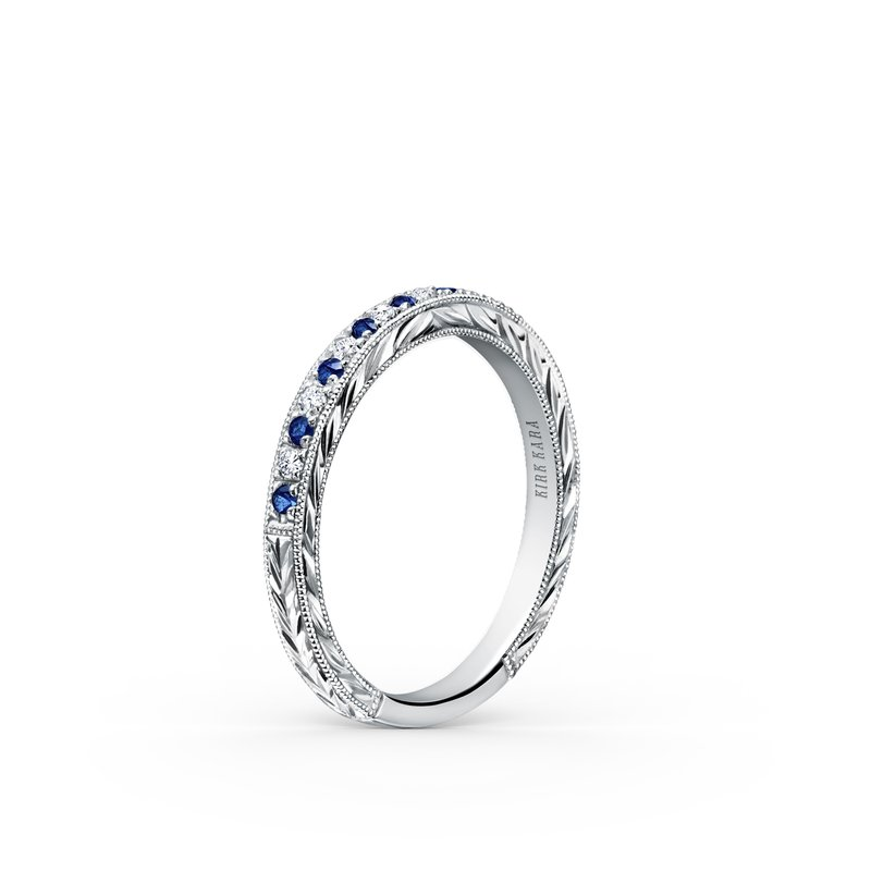 Blue Sapphire Engraved Diamond Wedding Band