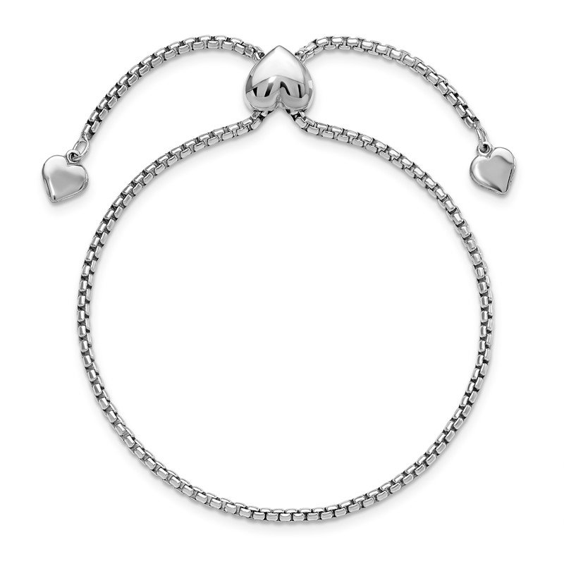 Leslie's Leslie's Sterling Silver Round Rectangle Box Heart Adjustable Bracelet
