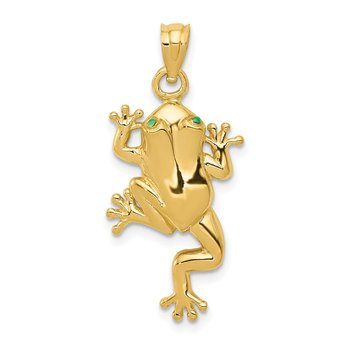 14k Frog W/ Enameled Eyes Charm