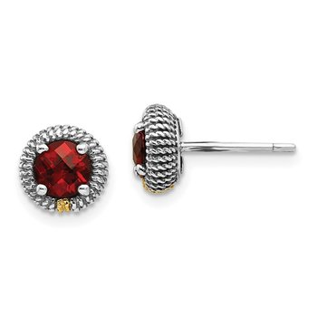 Sterling Silver w/14k Garnet Post Earrings