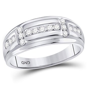 10kt White Gold Mens Round Diamond Channel-set Wedding Band Ring 1/2 Cttw
