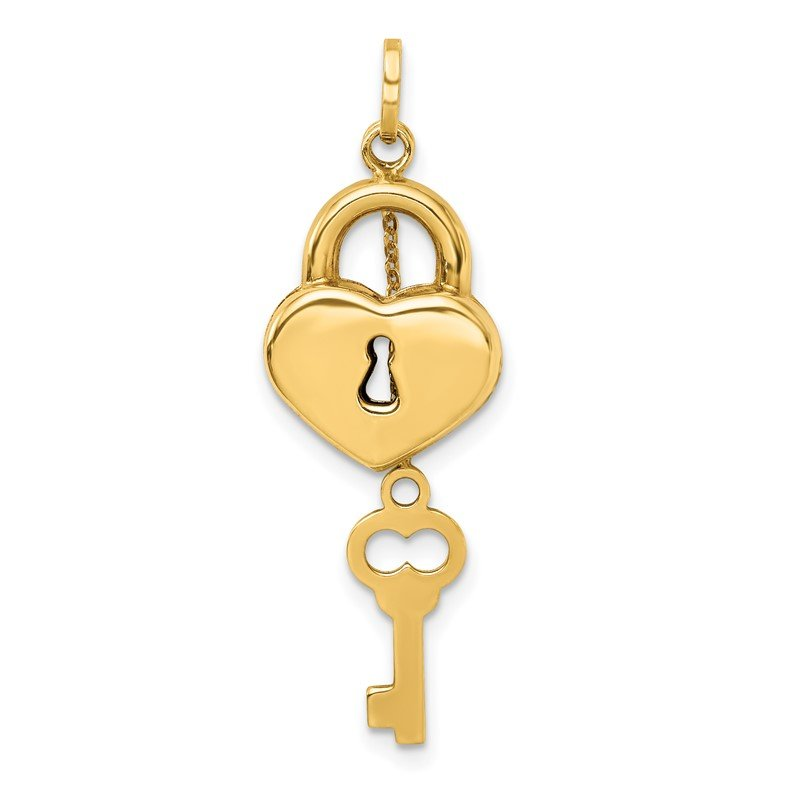 Quality Gold 14K Polished 3D Moveable Key and Lock Charm