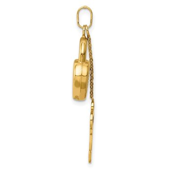 14K Polished 3D Moveable Key and Lock Charm