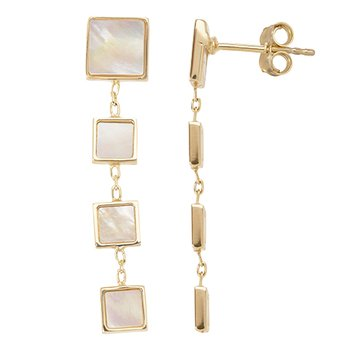 Square Mother of Pearl Drop Earrings
