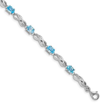 Sterling Silver Rhodium-plated Blue Topaz Figure 8 Bracelet