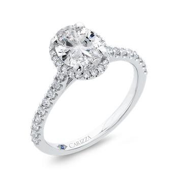 18K White Gold Oval Cut Halo Diamond Classic Engagement Ring (Semi-Mount)
