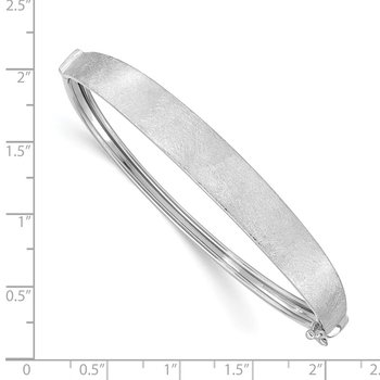 14k White Gold Satin Finish Graduated Hinged Bangle