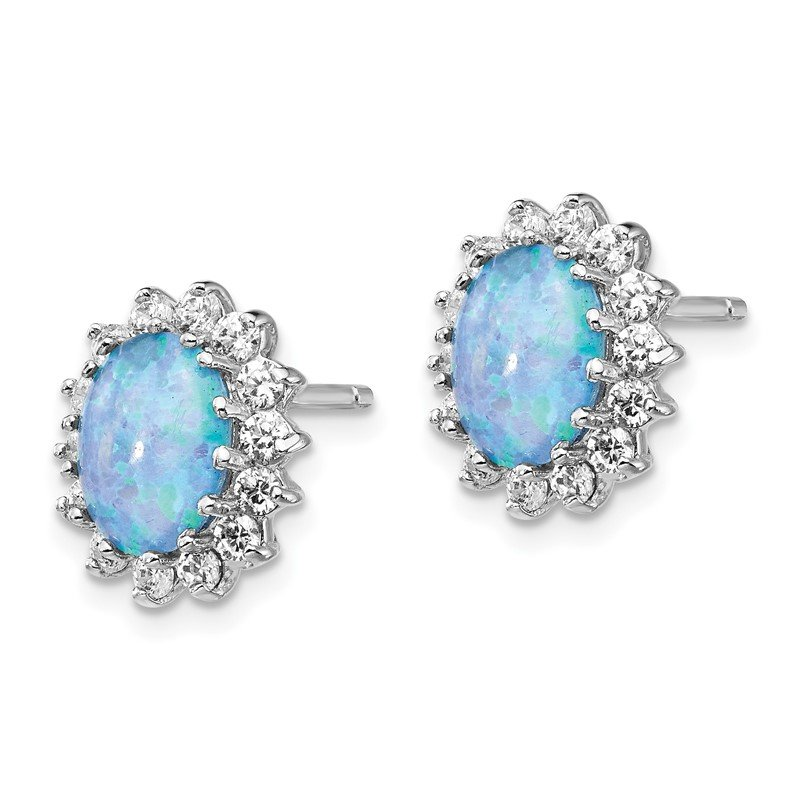 Cheryl M Cheryl M Sterling Silver RH-plated CZ &Created Blue Opal Post Earrings