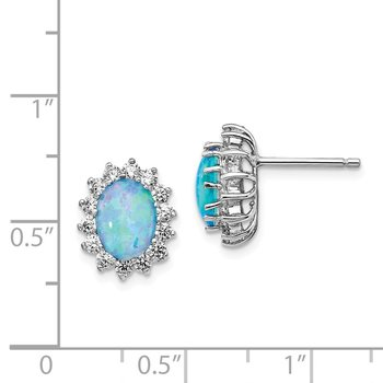 Cheryl M SS Lab Created Blue Opal Post Earrings
