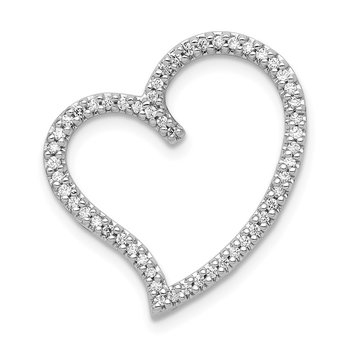14k White Gold 1/4ct. Diamond Heart Chain Slide