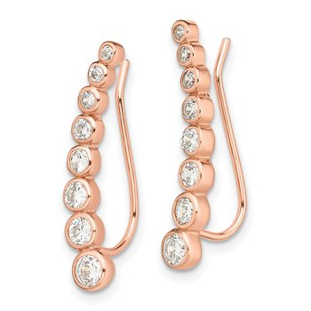 Sterling Silver Rose-tone CZ Ear Climber Earrings