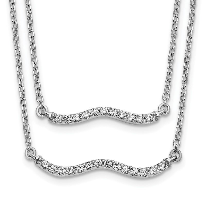 Quality Gold 14k White Gold Diamond Double Strand 18 inch Necklace