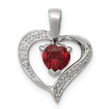 Sterling Silver Rhodium Heart Garnet & Diamond Heart Pendant