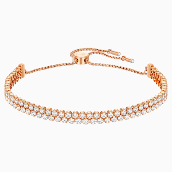 Subtle Bracelet, White, Rose-gold tone plated