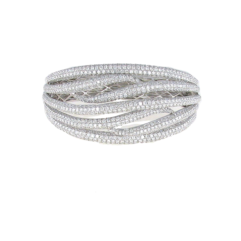 Roberto Coin 18Kt Gold Diamond Crossover Bangle