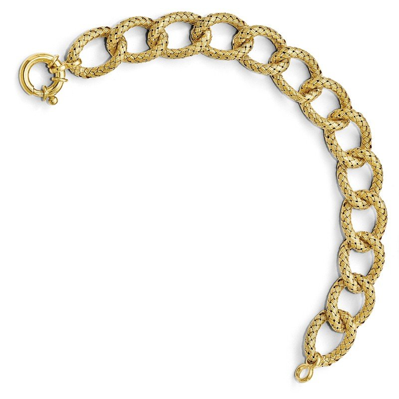 Leslie's Leslie's Sterling Silver Gold-plated Polished Textured Bracelet