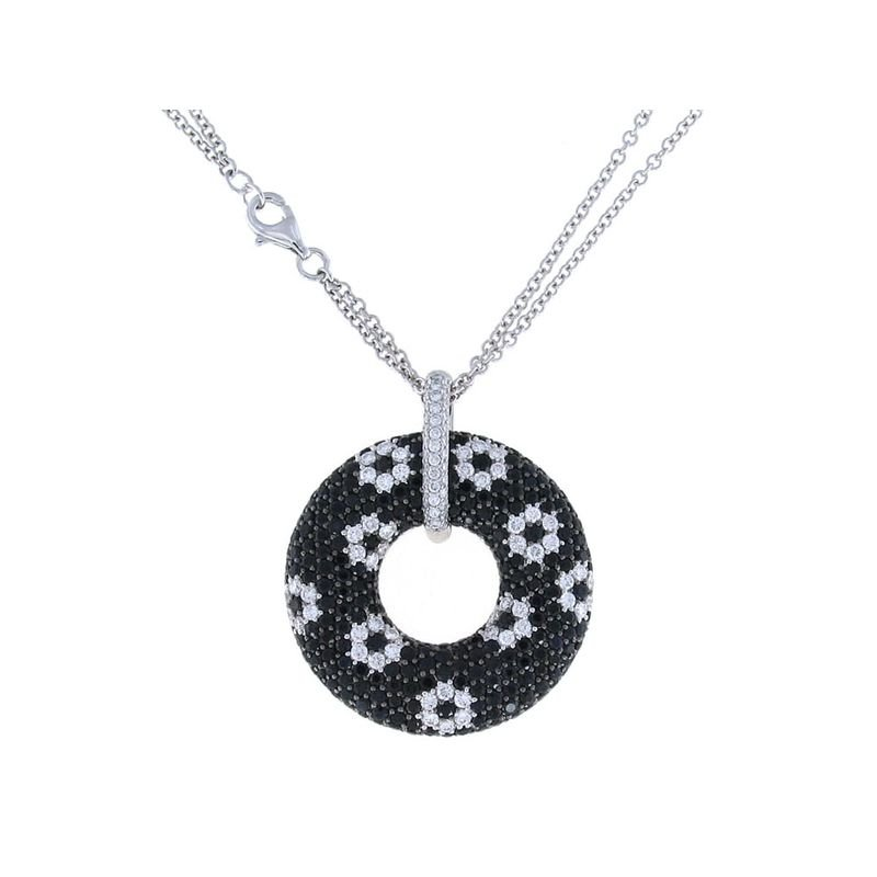 Roberto Coin 18Kt Gold White Diamond And Black Sapphire Circle Pendant