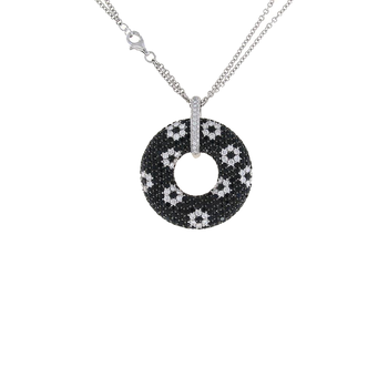 18KT GOLD WHITE DIAMOND AND BLACK SAPPHIRE CIRCLE PENDANT