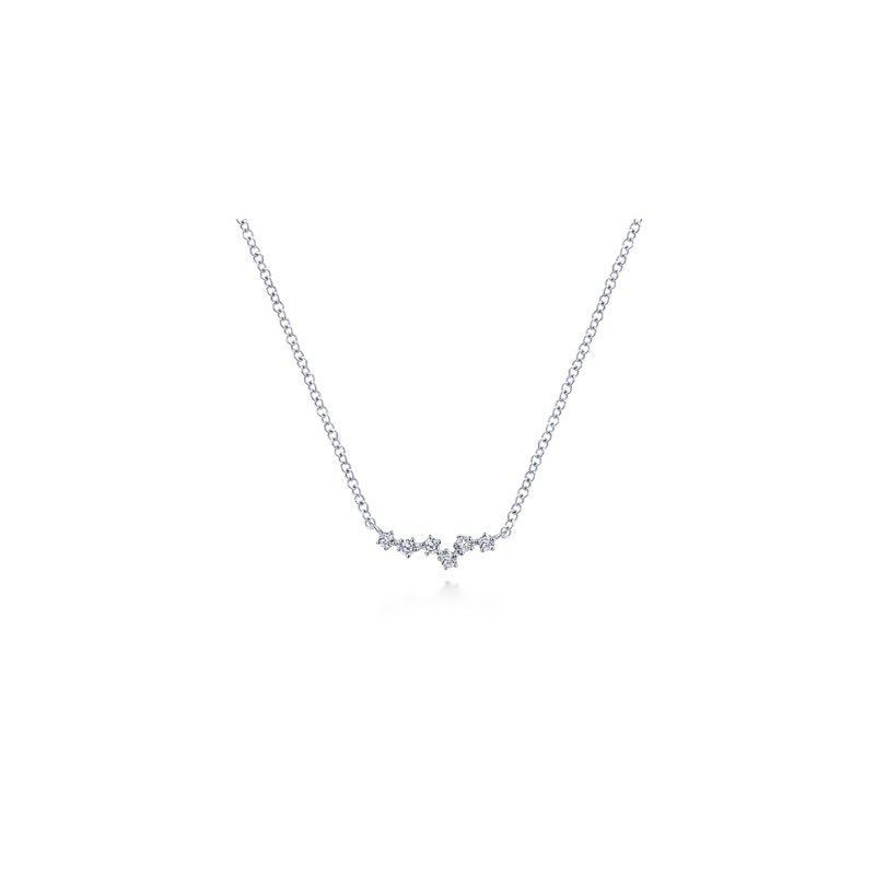 Amavida 14K White Gold Diamond Bar Pendant Necklace