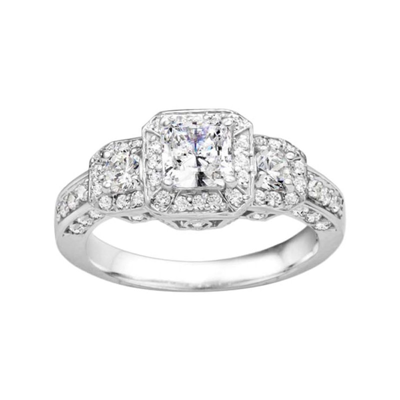 True Romance Princess Cut Diamond Vintage Style Engagement Ring