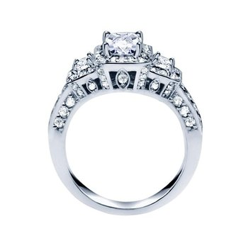 Princess Cut Diamond Vintage Style Engagement Ring