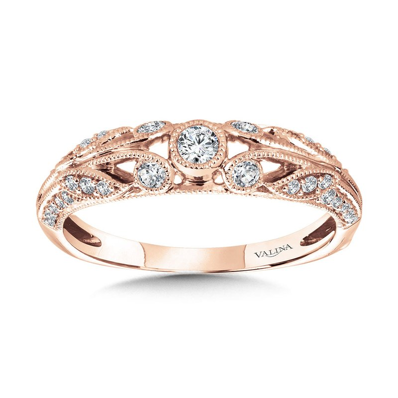 Valina Vintage Milgrain & Filigree Accented Diamond Wedding Band