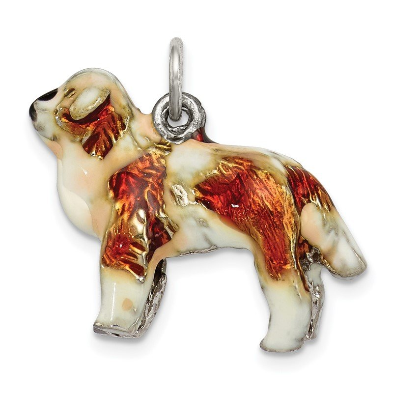 Quality Gold Sterling Silver Enameled Saint Bernard Charm