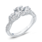 Carizza 14K White Gold Three-Stone Engagement Ring with Round Diamond (Semi-Mount)
