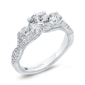 14K White Gold Three-Stone Engagement Ring with Round Diamond (Semi-Mount)